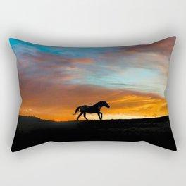 Beautiful Running Horse in a Southwestern Sunset Rectangular Pillow