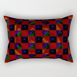 Abstract color checkered swirl with halftones Rectangular Pillow