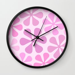 Abstract Flowers in Pinks Wall Clock