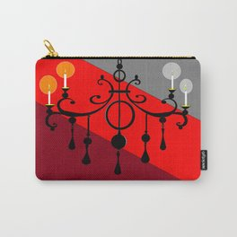 A Chandler with Candles and Red, Maroon and Gray Carry-All Pouch