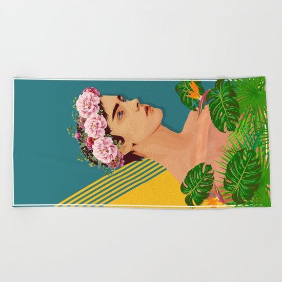 BOY OVER FLOWERS Beach Towel