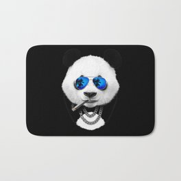 Panda Bear Black Bath Mat