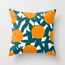 Art Deco Minimalist Orange Grove Throw Pillow