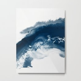 Building the Universe:  A minimal abstract acrylic painting in blue and white by Alyssa Hamilton Metal Print