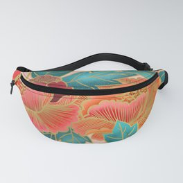 Pink Peonies Pattern with Gold Waves Fanny Pack