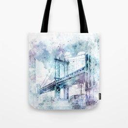 Modern Art NYC Manhattan Bridge   watercolor Tote Bag