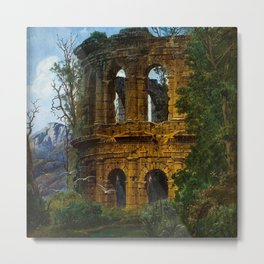 Roman Italian Ruins At Twilight with flying birds in foreground landscape painting by Ferdinand Knab Metal Print