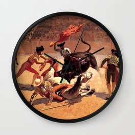 "Frederic Remington Western Art ""Bullfight in Mexico"" Wall Clock"