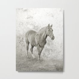 Black and white racehorse Metal Print