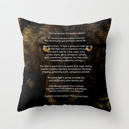 The TWO WOLVES CHEROKEE TALE Throw Pillow
