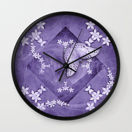 Flowers and butterfly with swirling fractal Wall Clock
