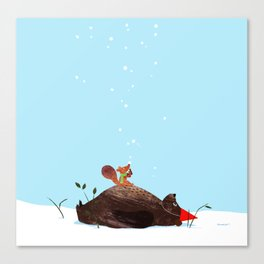 Brown Bear and Squirrel Canvas Print