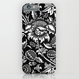 William Morris Sunflowers, Black and White with Gray iPhone Case