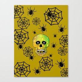 Spider Skull -  Happy Halloween Canvas Print
