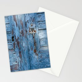 """Travel Photography """"old wooden door in Greek blue color with pattern of sunshine and shade"""". Fine art photo print.  Stationery Cards"""