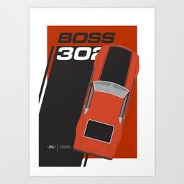 Minimal poster Mustang Boss 302 Orange Art Print