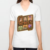 ezra koenig V-neck T-shirts featuring Rebel 4: Ezra Bridger by Szoki