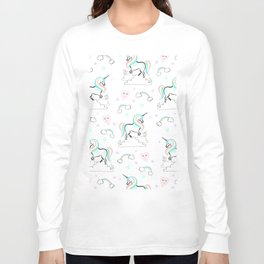 Standing tall Unicorn on cloud and heart pattern Long Sleeve T-shirt