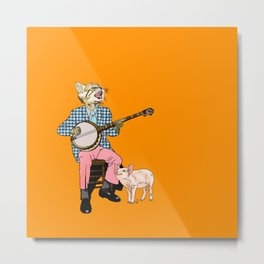 The Cat and the Banjo Metal Print