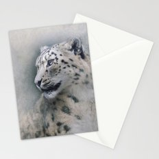 Snow Leopard profile Stationery Cards