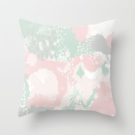 Alexei - abstract minimal modern painting splash dots stripes painterly art Throw Pillow