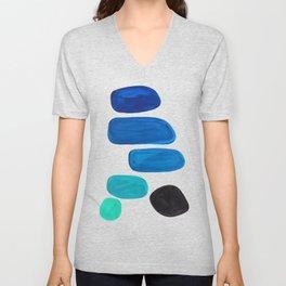 Colorful Mid Century Modern Pop Art Minimalist Style Teal Blue Aquamarine Bubbles White Background Unisex V-Neck