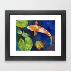 Kohaku Koi and Dragonfly Framed Art Print