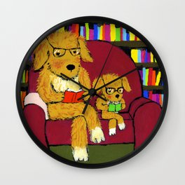 Reading dogs Wall Clock