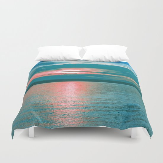 Sunset at Sea III Duvet Cover