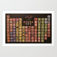 periodic table Art Prints featuring Periodic Table of Phobias by Darkest Devotion