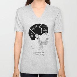 Alternative Phrenolgy Head Print by Emilythepemily Unisex V-Neck