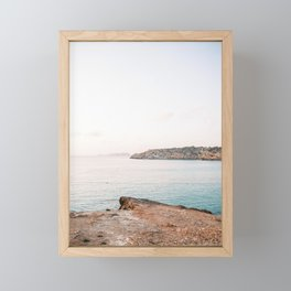 "Travel photography ""Cala Tarida Sunset"" | Modern wall art Ibiza Spain pastel tones coast sunset Framed Mini Art Print"