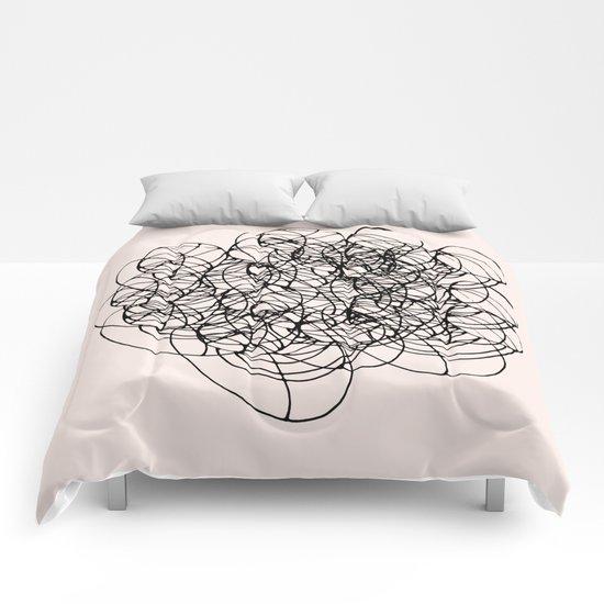 Black Circle Lines on Pink Comforters