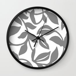 LEAF PALM SWIRL IN GRAY AND WHITE Wall Clock