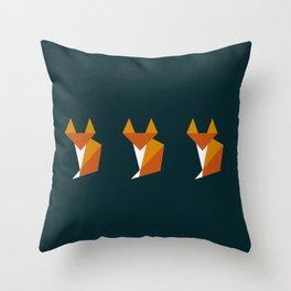 Triple tiny fox Throw Pillow
