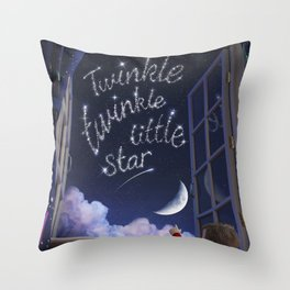 Twinkle Twinkle Little Star - Nursery Rhyme Inspired Art Throw Pillow
