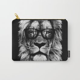 Hipster Lion Black Carry-All Pouch