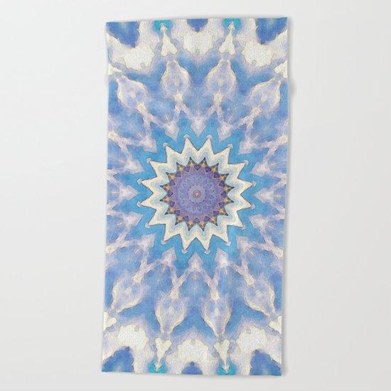 Textural Blue Star Beach Towel