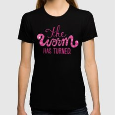 The Worm Has Turned. Black MEDIUM Womens Fitted Tee