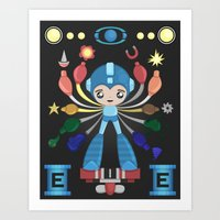 megaman Art Prints featuring MegaMan Shrine by MattBlanksArt