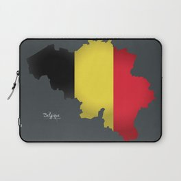 Belgium map special artwork style with flag illustration Laptop Sleeve