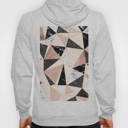 Modern black white marble rose gold glitter foil geometric abstract triangles pattern Hoody