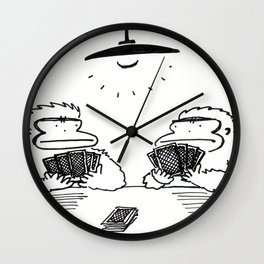 Ape Staredown at the Poker Table Wall Clock