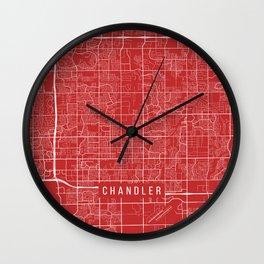 Chandler Map, USA - Red Wall Clock