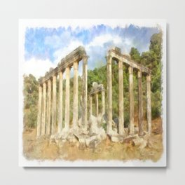 Euromos Ruins Watercolor Metal Print