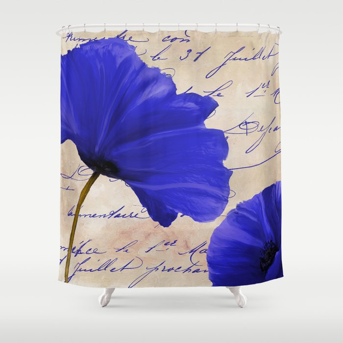 Coquelicots Blue Shower Curtain