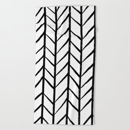 black and white modern hand drawn herringbone chevron pattern Beach Towel