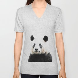 Panda Watercolor Panda Bear Portrait Unisex V-Neck
