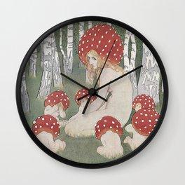 MOTHER MUSHROOM WITH HER CHILDREN - EDWARD OKUN Wall Clock
