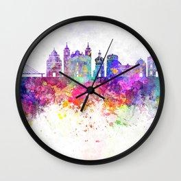 Przemysl skyline in watercolor background Wall Clock